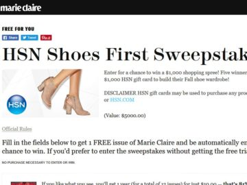 HSN Marie Claire Shoes First Sweepstakes