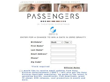 The Passengers Trailer Sweepstakes