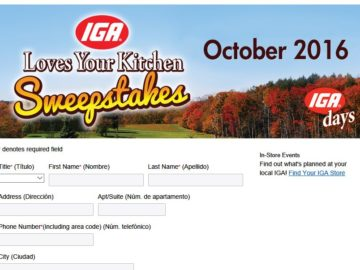 """The """"2016 """"IGA Loves Your Kitchen"""" Sweepstakes"""