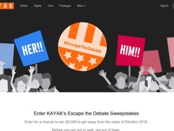 The Kayak Escape The Debate Sweepstakes