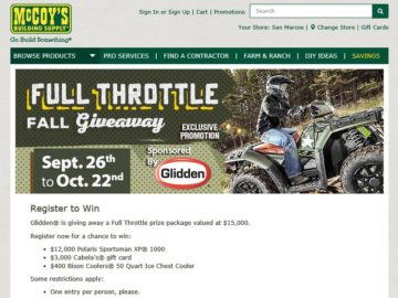 McCoy's Building Supply Full Throttle Fall Giveaway Contest