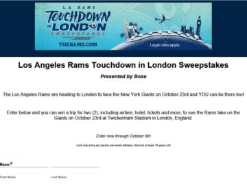 Los Angeles Rams Touchdown in London Sweepstakes