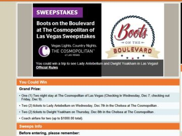 Boots on the Boulevard at The Cosmopolitan of Las Vegas Sweepstakes