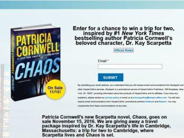 Patricia Cornwell-Inspired Boston Getaway Sweepstakes