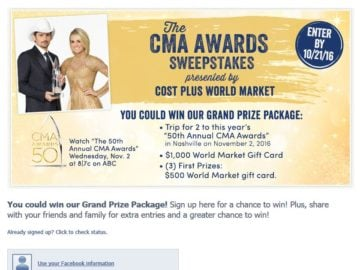 The Cost Plus World Market CMA Awards Sweepstakes