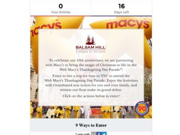 Balsam Hill: Win a Trip to Macy's Thanksgiving Day Parade Sweepstakes