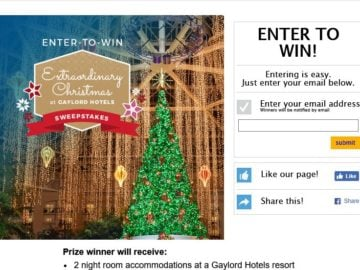 Extraordinary Christmas at Gaylord Hotels Sweepstakes