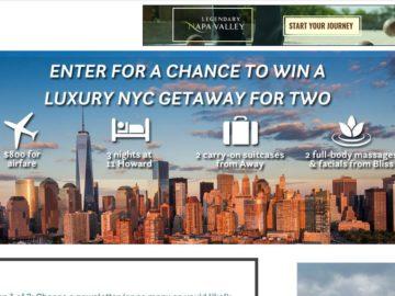 Travel + Leisure Luxury NYC Getaway Sweepstakes