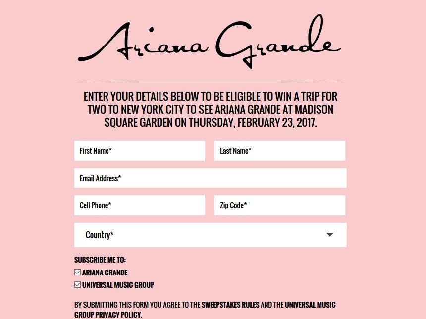 Famoso The Ariana Grande 2017 Tour Sweepstakes YX38