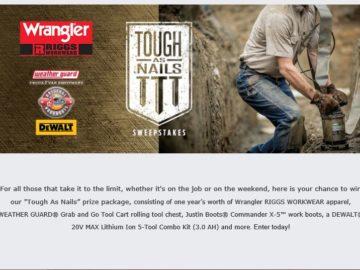 """2016 Wrangler RIGGS WORKWEAR """"Tough-As-Nails"""" Sweepstakes"""