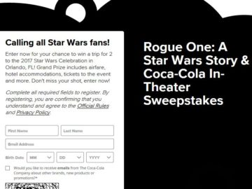 Rogue One: A Star Wars Story & Coca-Cola In-Theatre Sweepstakes