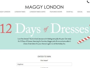Maggy London 12 Days of Dresses Sweepstakes