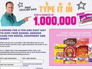 1 Million Box Tops Sweepstakes