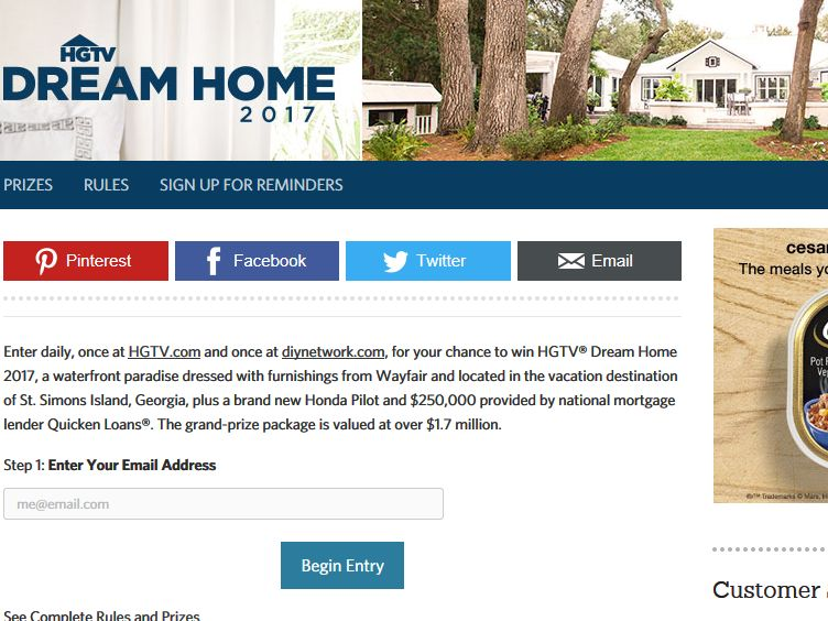 HGTV Dream Home Giveaway 2017 Sweepstakes