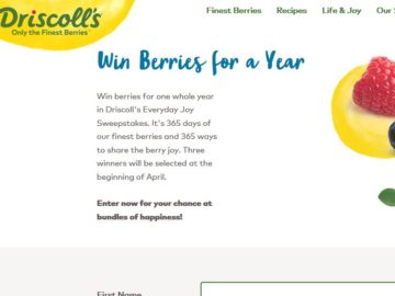 """Driscoll's """"Everyday Joy"""" Sweepstakes"""