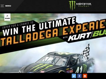 Monster Energy Chance to Win the Ultimate Kurt Busch Talladega Experience Sweepstakes