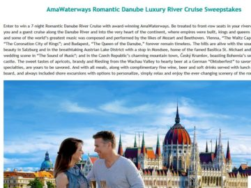AmaWaterways Romantic Danube Luxury River Cruise Sweepstakes