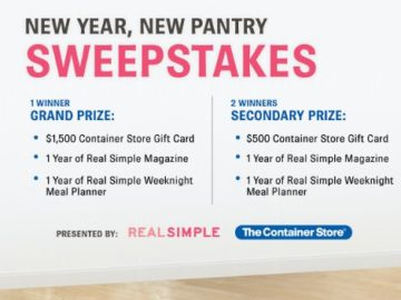 REAL SIMPLE Container Store New Year, New Pantry Sweepstakes