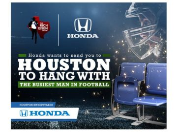 Honda wants to send you to Houston to hang with the Busiest Man in Football! Sweepstakes