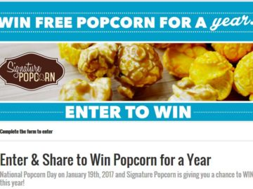 "Signature Popcorn ""Win Free Popcorn for a Year"" Sweepstakes"