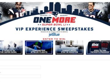 Patriots Super Bowl Sweepstakes
