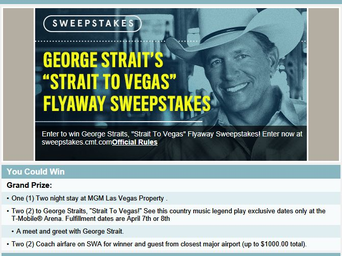 Cmt george straits strait to vegas flyaway sweepstakes m4hsunfo