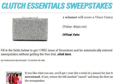 Seventeen Prom Clutch Essentials Sweepstakes – Select Age Group