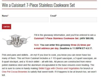 Leite's Culinaria Cuisinart Cookware Set Sweepstakes