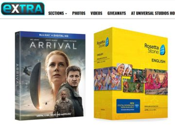 EXTRA 'Arrival' Blu-ray with Rosetta Stone Subscription Sweepstakes