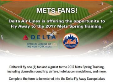 New York Mets Fly Away Sweepstakes