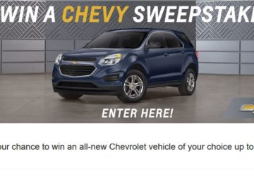 Win a Chevy Sweepstakes – Limited States