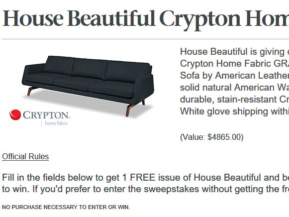 House Beautiful Sweepstakes Amusing House Beautiful Crypton Home Fabric Sweepstakes Design Inspiration