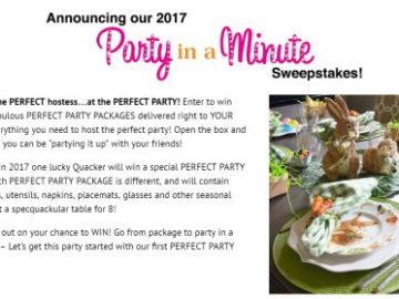 Quacker Factory Party in a Minute Sweepstakes 2017