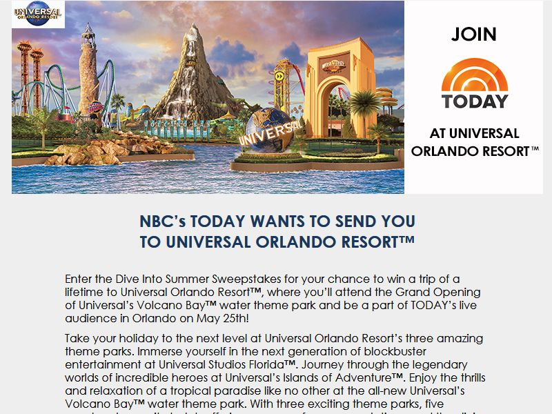 today show universal studios sweepstakes universal orlando resort dive into summer sweepstakes 7477