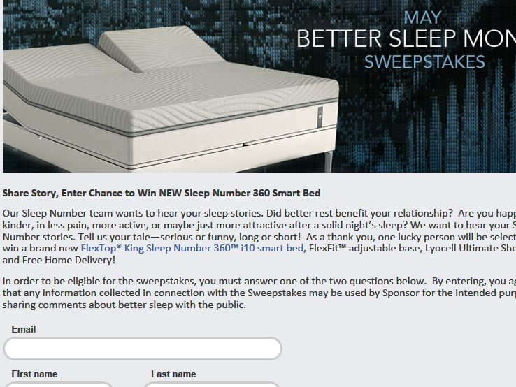 select comfort corporation better sleep month sweepstakes. Black Bedroom Furniture Sets. Home Design Ideas