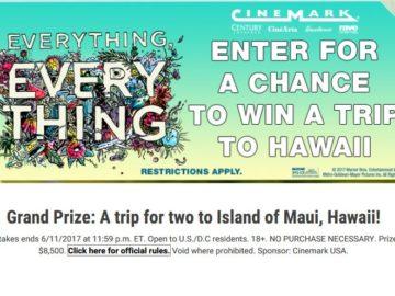 Cinemark Everything Hawaii Sweepstakes
