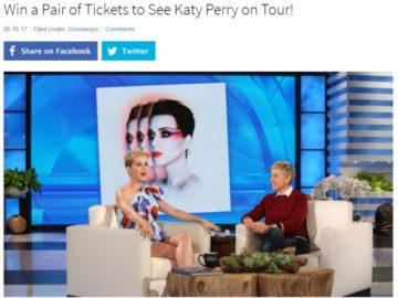 Win a Pair of Tickets to See Katy Perry on Tour Sweepstakes