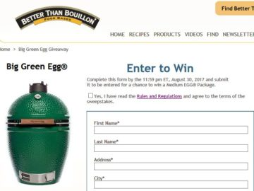 "Southeastern Mills ""Big Green Egg Giveaway"" Sweepstakes"