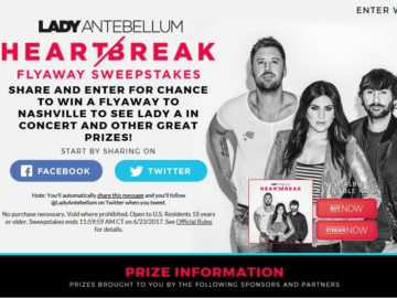Lady Antebellum Heart Break Share Sweepstakes