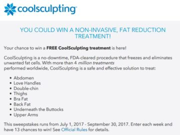 Win CoolSculpting 2017 Sweepstakes