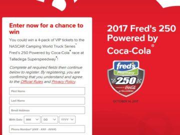 Coca-Cola's 2017 fred's 250 Instant Win Game
