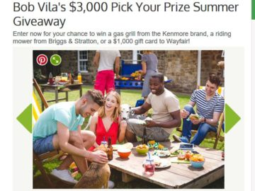 Bob Vila S 3 000 Pick Your Prize Summer Giveaway Sweepstakes