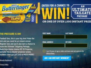BUTTERFINGER College Sweepstakes and Instant Win Game