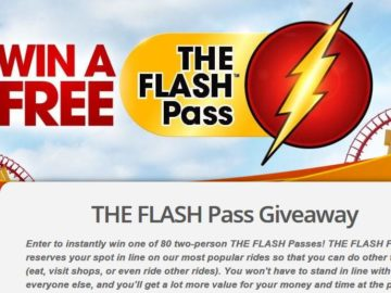 2017 Six Flags THE FLASH Pass Sweepstakes and Instant Win Game