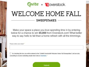 EVITE Overstock Welcome Home Fall Sweepstakes