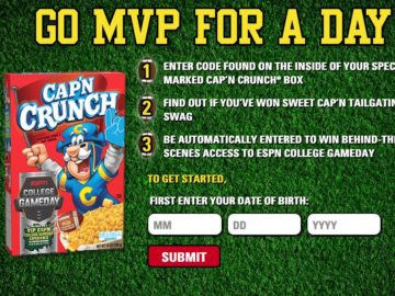 Gameday with Cap'n Sweepstakes and Instant Win Game – Box code required