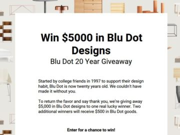 Blu Dot Designs 20 Years Sweepstakes