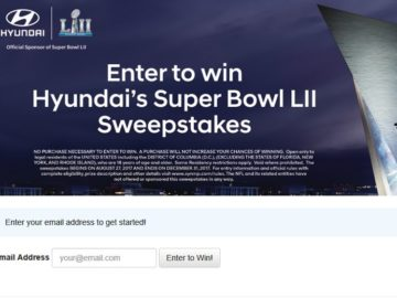 Hyundai's Super Bowl LII Sweepstakes