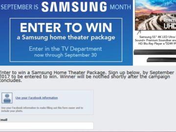 Nebraska Furniture Mart Samsung Sweepstakes – Facebook