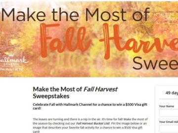 Hallmark Channel Make the Most of Fall Harvest Sweepstakes – Pinterest